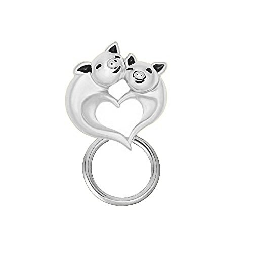 NOUMANDA Strong Magnetic Eyeglass Holder Cute Love Heart Happy Fly Pig Brooch Pin Gift Women Girls (Silver) by NOUMANDA (Image #3)'