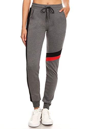 Vibrant Vixen Women's Print Work Out Joggers Jersey Pocket Fashion Sweat Pant Functional Drawstring (L/XL, VJ1809-CHA) -