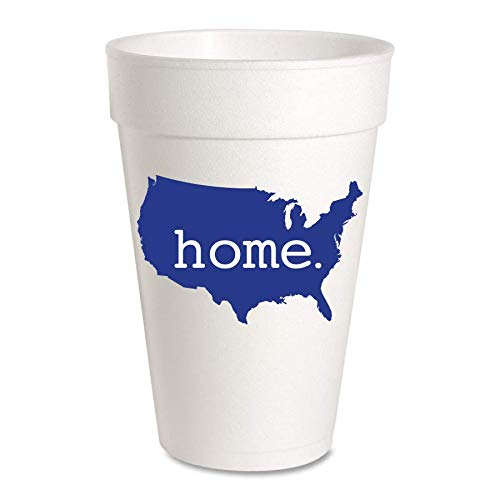 USA Home Patriotic Party Cups - Styrofoam 16ox, Pack of 10 Cups