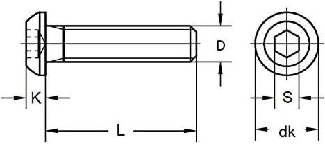 x100 Schrauben f/ür Bodenplatten Linsenschrauben Edelstahl A2 ISO 7380-1 M6x25