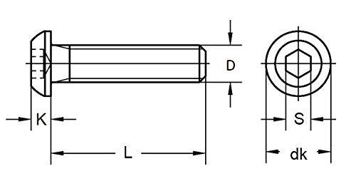 M8x12 Vis /à m/étaux T/ête Bomb/ée Six Pans Creux Acier Inox ISO 7380-1 x100