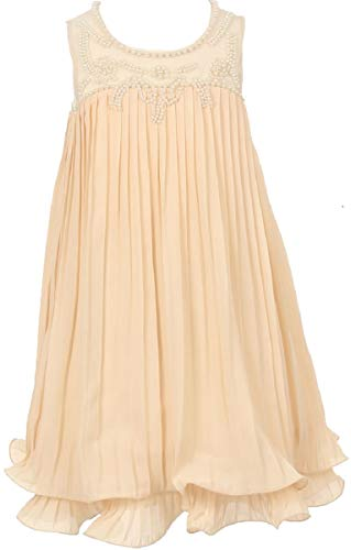 Big Girls Baby Doll Hand Pearl Beaded Pageant Flower Girls Dresses (90C05C) Champagne 8