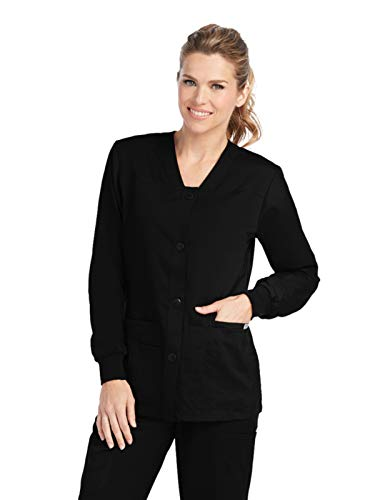 Grey's Anatomy Women's Junior Fit 4 Pocket Sport Button Front Scrub Jacket, Black, Small