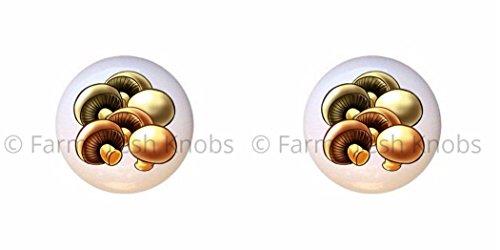 SET OF 2 KNOBS - Mushrooms - Food and Drink - DECORATIVE Glossy CERAMIC Cupboard Cabinet PULLS Dresser Drawer KNOBS