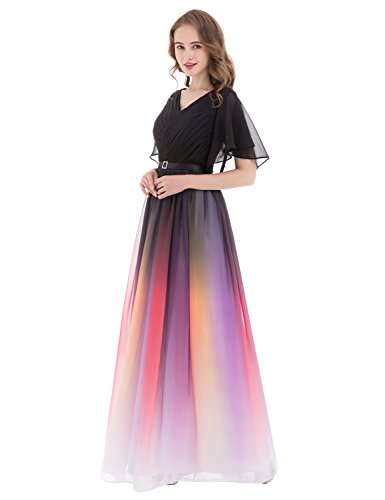 and anmor Dresses Formal Black Party Gradient Chiffon Gown 412 ARSD231 Evening Long Women's Prom white OqrFOwT