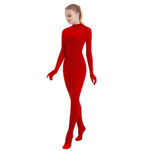 SUPRNOWA Unisex Turtleneck Full Body Spandex Long Sleeve Unitard Footed (Small, Red) - Full Body Lycra Spandex