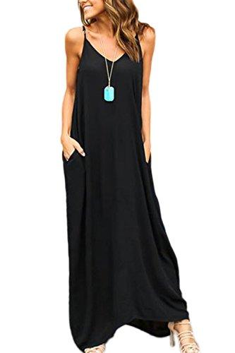 YACUN Mujeres Hippie Boho Vestidos Correa Profundo Cuello En V Loose Long Dress Black