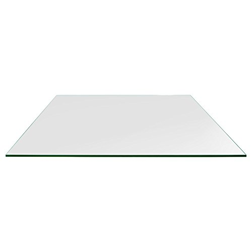 TroySys Rectangle Glass Table Top, 1/4 Inch Thick, Flat Polished Edge, Eased Corners, Tempered, 42