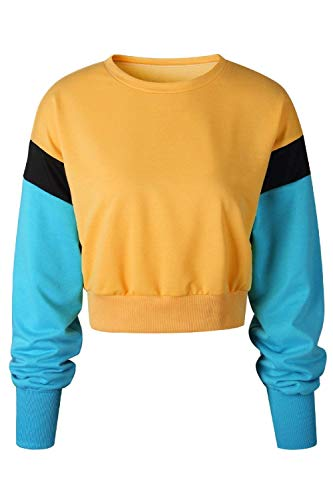 Orange Plantual Patchwork Betrothales Chemises Sweatshirts Manches Ladies P Longues Cou zdtAxqaf