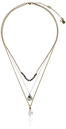 - Kenneth Cole New York Delicates Disc and Faceted Bead Three Row Necklace, 16''+3'' Extender