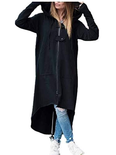 - Hemlock Women Plus Size Cardigan Jacket Long Hooded Coats Zipper Pullover Sweater Tunic Dinner Blazer Coat Tops Black