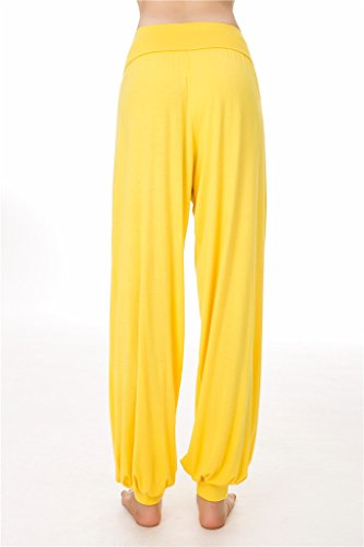 o Leggings e Yoga donna Pantaloni per da Modal Fit Yellow Loose Lunghi Pilates SIMYJOY Spandex morbido 1YOanwq