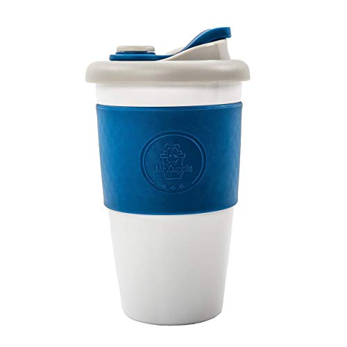 Mr. Cuppie Reusable Coffee Cup with Lid, Coffee To Go Travel Mug made of Eco-friendly BPA-Free Material with Non-Slip Sleeve, Dishwasher and Microwave Safe Insulated Coffee Mug, 16oz (Best Microwave Safe Coffee Travel Mug)