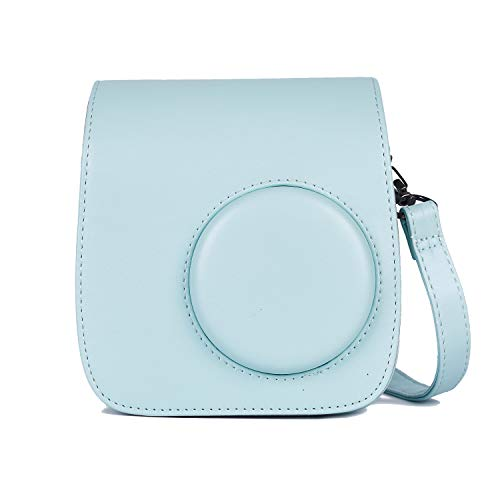 (Phetium Protective Case Compatible with Instax Mini 7s Instant Film Camera/Polaroid PIC-300, Premium Vegan Leather Bag Cover with Removable Strap(Ice Blue))