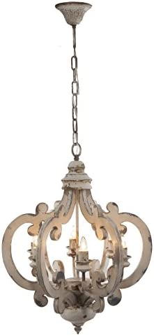 A B Home Wood and Metal Chandelier