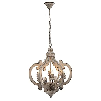 Image of A&B Home Wood and Metal Chandelier, 20.5' x 18' x 24'