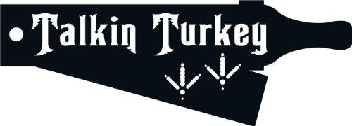 (Talkin Turkey Animal Hunting Hunter Outdoor Sports - Peel & Stick Sticker Size: 11x21 Color: Black)