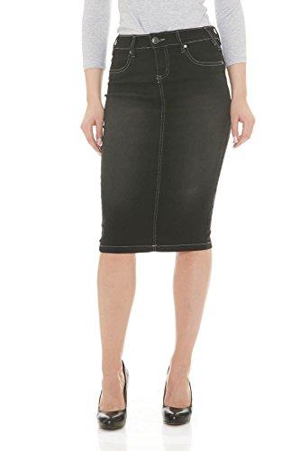 Jean Knee Skirt Length (Esteez Jean Skirt for Women Powerstretch Denim Miami Black Stonewash 6)