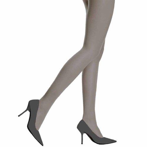 Luxury Divas Grey Spandex Sheer Control Top Tights