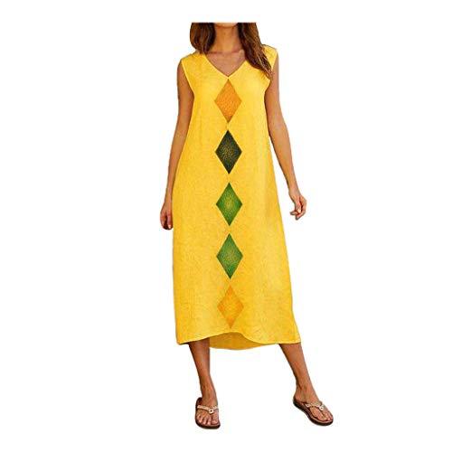 (DondPo Womens V-Neck Summer Dress Bohemian Short Sleeve Floral Printed Cotton Linen Long Dress Casual Tank Dresses)