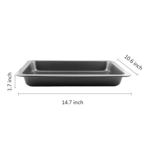 1pcs Jelly Roll Pans Bakeware Stainless Steel Baking Pan Bakeware Non-stick Sheet Tray Rectangular Jelly Roll Pan 14.7x10.6x1.7inch by Jelly Roll Pans