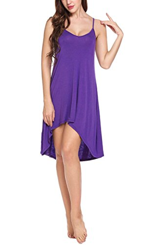 Goodfans Women's Sexy Chemise Nightgown Adjustable Strap Full Slip Lounge Dress (Purple L) by Goodfans