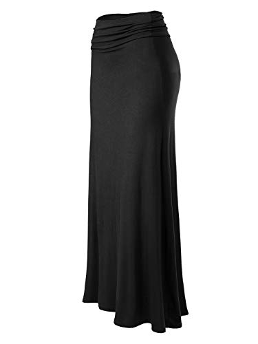 MixMatchy Women's Basic Foldable High Waist Regular and Plus Size Maxi Skirts Black L
