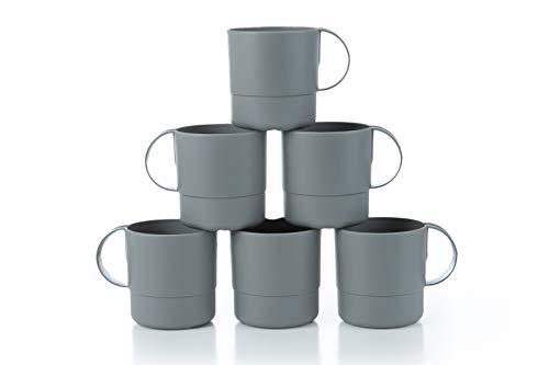 Plastic Coffee Mug (Amuse- Eco Friendly Sturdy Unbreakable & Stackable Mugs for Water, Coffee, Milk, Juice, Tea- Set of 6-11 oz)