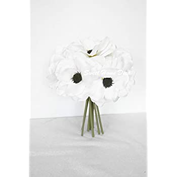 Amazon sweet home deco 12 silk anemone artificial flower bush sweet home deco 10 blooming peony and anemone silk artificial wedding bridal bouquet mightylinksfo