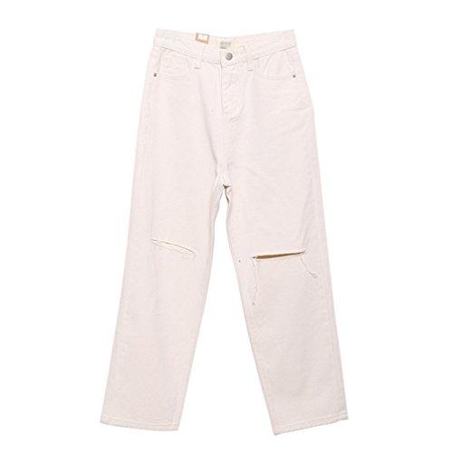 Tamaño Pantalones Denim Moda Lihaer Vaqueros Gran Beige Jeans Casual De Mujeres Talle Pantalon Retro De Rotos Alto qw6tR7