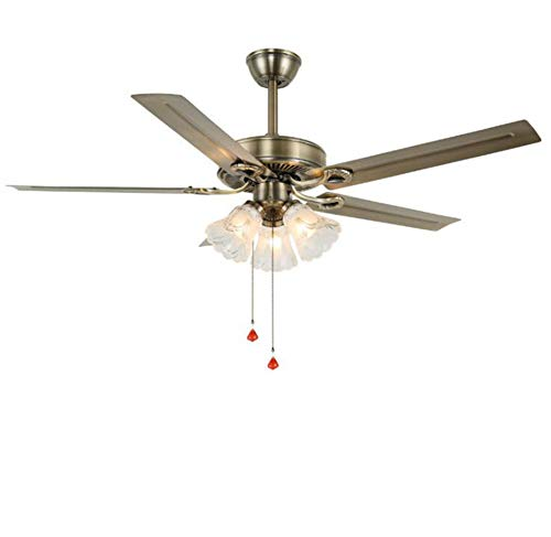 Ceiling Fan with Light Lamp Living Room Creative Restaurant Led Ceiling Fan Light Retro Lighted Iron Fan Blade Remote Control (B1, White)