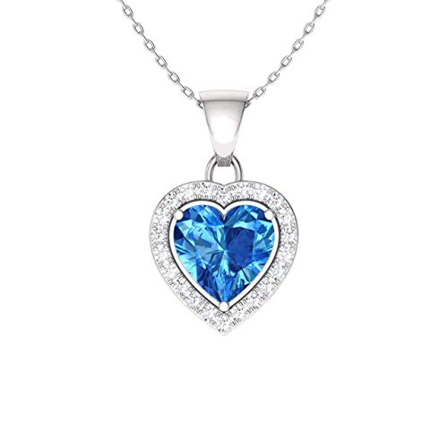 Diamondere Natural and Certified Blue Topaz and Diamond Heart Necklace in 14k White Gold | 0.57 Carat SI1-SI2 Quality Necklace with Chain ()