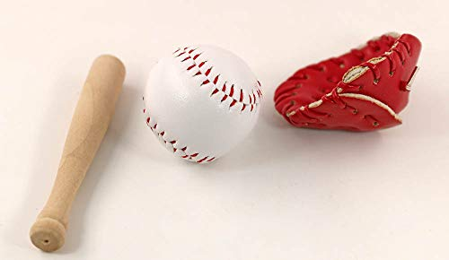nanguawu Dollhouse Miniature Wooden Baseball Bat Glove Red