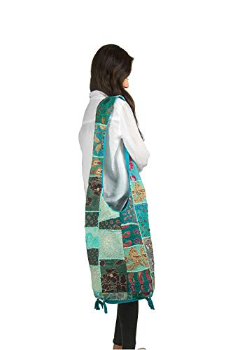 Tribe Azure Women Fashion Hobo Floral Shoulder Bag Monk Style Canvas Sling Messenger Handbag Crossbody Roomy Summer Spring Chic (Turquoise Blue)