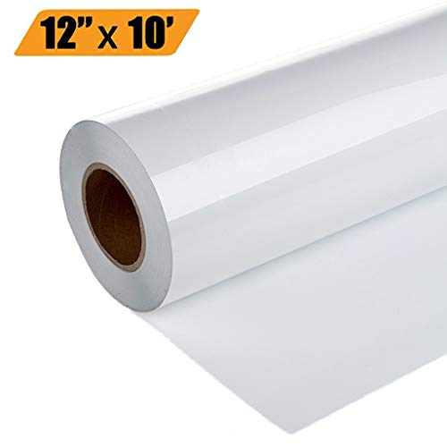 UPSTONE Premium Heat Transfer Vinyl HTV Rolls for Silhouette and Cricut 12in.x10ft- Easy to Cut & Weed Iron on Heat DIY Heat Press Design for T-Shirts Glossy (White)