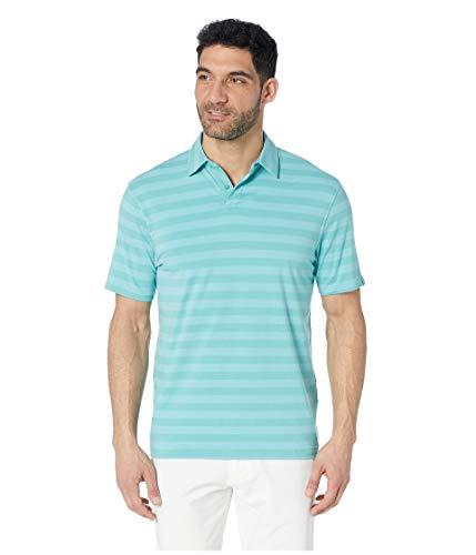 Alternate Stripe - Under Armour Golf Men's Charged Cotton¿ Scramble Stripe Polo Azure Teal/Neo Turquoise/Azure Teal Medium