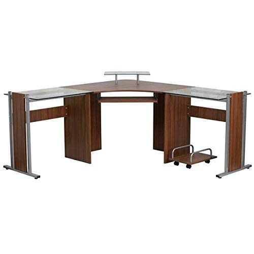 Metal, Wood and Glass L-Shape Brown Computer Desk with Casters + Free Basic Design Concepts Expert Guide