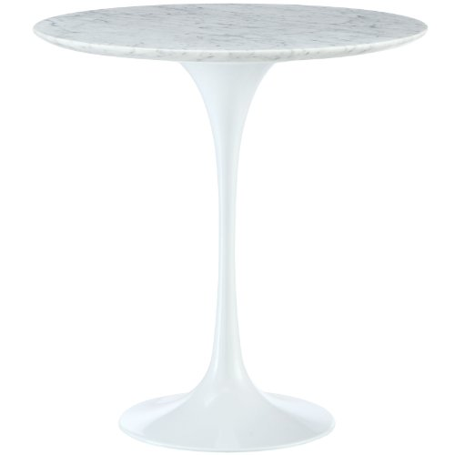 """Modway Lippa Mid-Century Modern 20"""" Round Artificial Marble Side Table in White"""