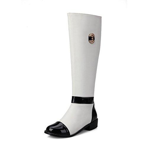 Farbe Absatz Reißverschluss Stiefel Gemischte Niedriger AllhqFashion Weiß Blend Materialien Damen PFEqRTRB