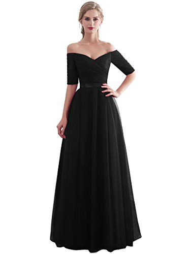 Beauty-Emily Elegant Lacing Bridesmaid Dress Long for Wedding Ceremony Formal Prom Dress for Girls Color Black, Size ()
