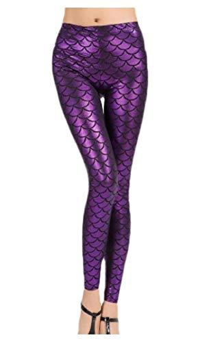 HEFASDM Mulheres escala de peixe Skinny calças lápis Slim Fit escala sereia hip UP Yoga leggings Purple OS