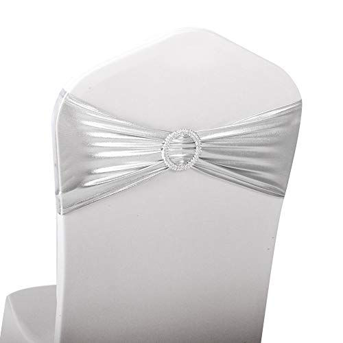 LOVWY 10 PCS Metallic Silver Spandex Chair Bands Stretch Chair Sashes Bows for Wedding Party Engagement Event Birthday Graduation Meeting Banquet Decoration (10 PCS, Metallic Silver)