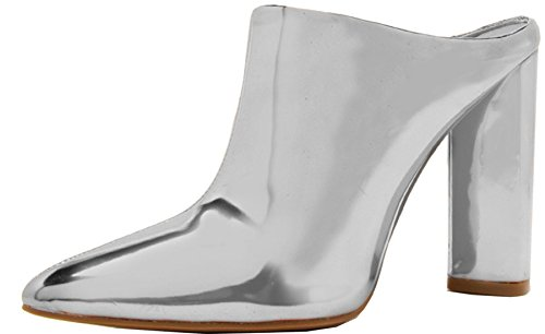 Metallic Leather Bootie - Qupid Women's Slip On Pointed Toe Stacked Chunky Heel Ankle Bootie (7 B(M) US, Silver Shiny Metallic)