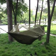 Extrafun Portable High Strength Parachute Fabric Hammock Hanging Bed With Mosquito Net For Outdoor Camping Travel
