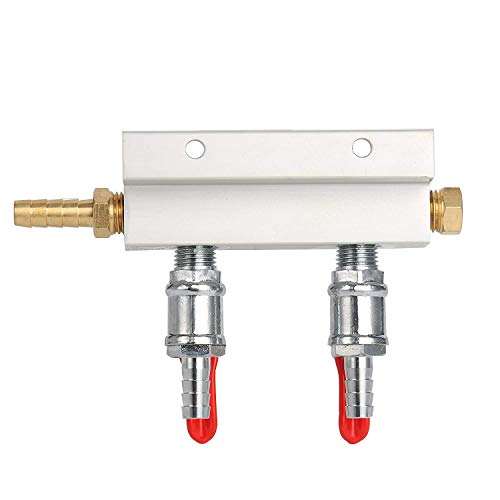MFL Valves, Swivel Nut, 5/16 inch Stem, 2 Way Air Manifold 2 way Co2 Air Gas Manifold distributor for Home-brew Draft Beer-1/4