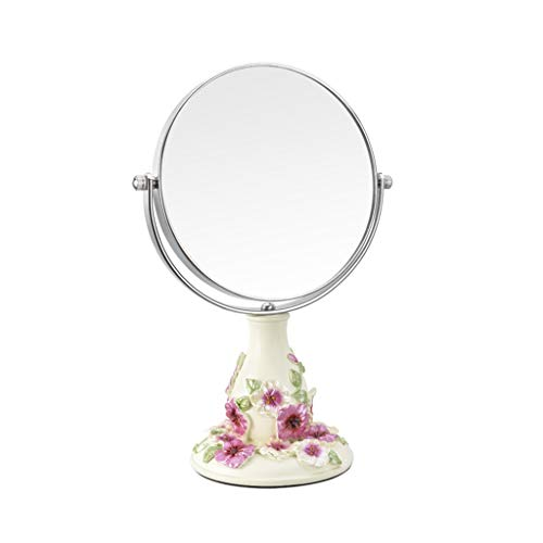 (Miaoliangliang 6-inch LARGE Tabletop Two-sided Swivel Vanity Mirror With 3x Magnification, Three-dimensional Carving-Makeup Mirrors14.7X26.5cm)