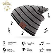 BGJOY Music Hat Wireless Beanie Smart Hat Built-in Stereo Speaker Mic Wireless Headphones Beanie Sync Call Music for All Bluetooth Smart Phones Gift Men Women Boys Girls Black with Gray