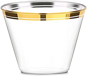 100 Piece Mokaloo 9oz Clear Disposable Plastic Cups