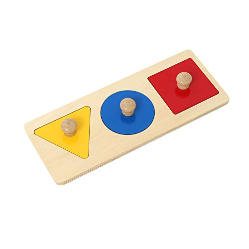 Montessori Multiple Shape Puzzle First Shapes Jumbo Knob Wooden Puzzle Geometric Shape Puzzle Toddler Preschool Learning Material Sensorial Toy for Toddler Shape & Color Sorter (3 Pieces)