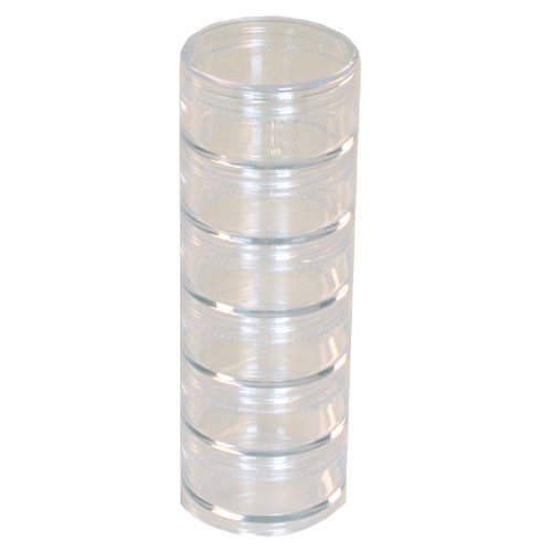 Storage Stackable Interlocking Clear Containers 6 For Beads Crafts Findings Small Items 2 Round Paylak TRAY-5
